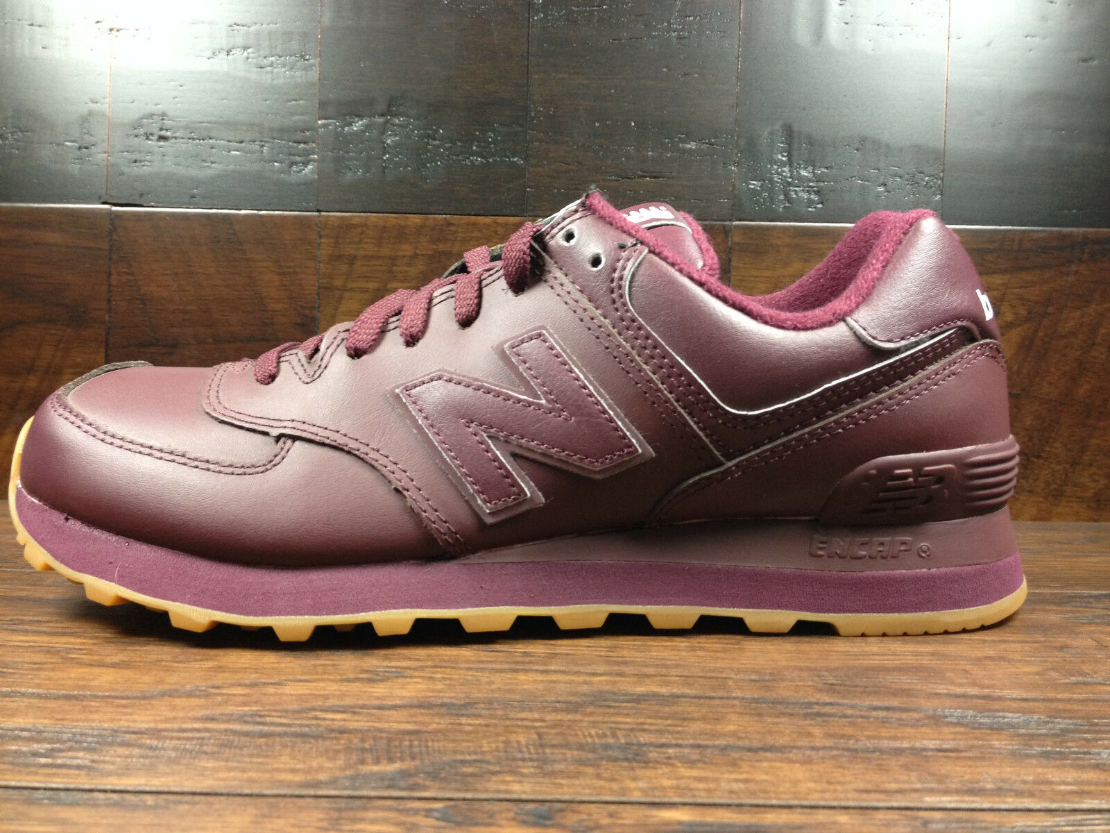 New Balance NB574AAB Classic Leather  (Burgundy   Gum) 574 Mens Size