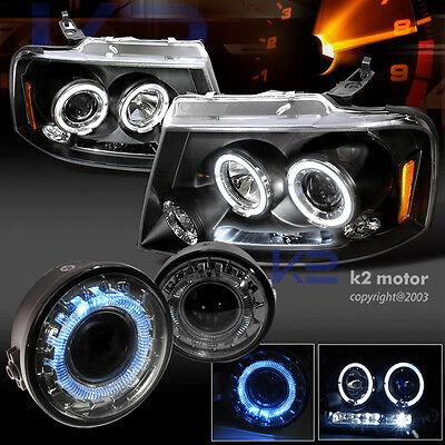 2006-2008 Ford F150 LED Projector Headlights+Smoke Halo Fog Lamp
