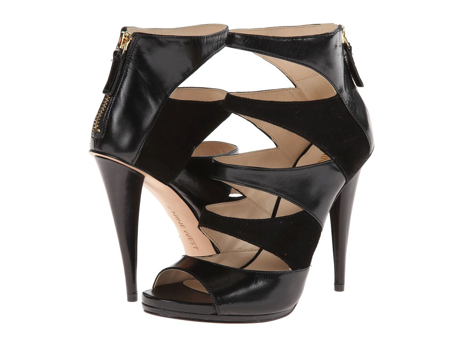 autentico New nine nine nine west sz 7.5 amability leather peeptoe sandal shootie avvioie pump heel  ampia selezione