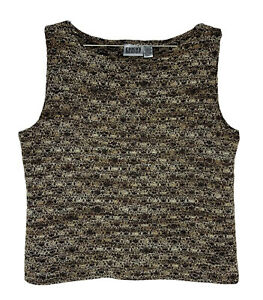 CHICOS Womens Layer Stretch Knit Tank Top Shell Size 3 Black Brown Blend Scoop
