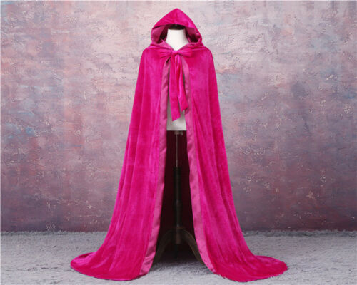 Details about  /VELVET LINED GOTHIC CLOAK HALLOWEEN BLACK CAPE HOODED WICCA MEDIEVAL LARP