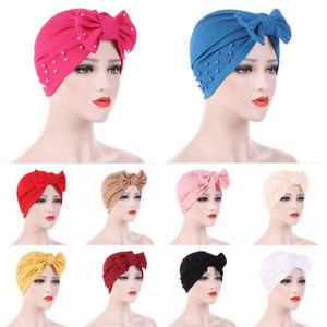 Women-039-s-Bowknot-Beads-Muslim-Hat-Ladies-Hijabs-Cancer-Chemo-Cap-Turban-Head-Wrap
