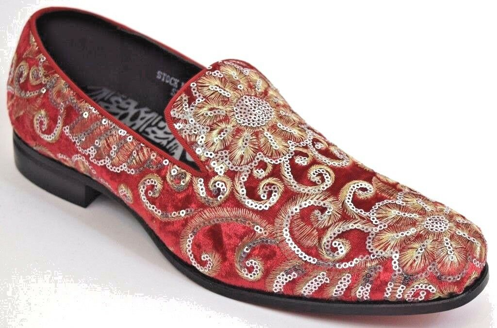 Mens Dress Casual Fancy Smoker shoes Red gold Silver Sequins Slip On Loafer 6734