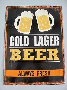 9977767 Mural Tin Sign Vintage Cold Lager Beer Embossed 40x30cm
