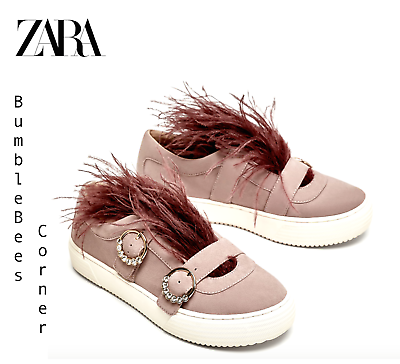 aliexpress good looking wholesale price ZARA Suede Leather Sneakers FEATHER DETAIL Buckled BEJEWELLED ...
