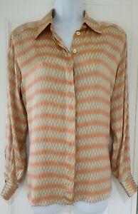 Womens-Escada-Margaretha-Ley-Orange-Silver-Fine-Silk-Gold-Buttons-Blouse-Top-36