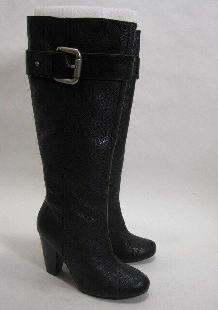 FOSSIL WOMEN'S REBECCA KNEE-HIGH HIGH-HEEL BOOT BLACK BLACK BLACK LEATHER/RUBBER SIZE 5 MED 8e22bb