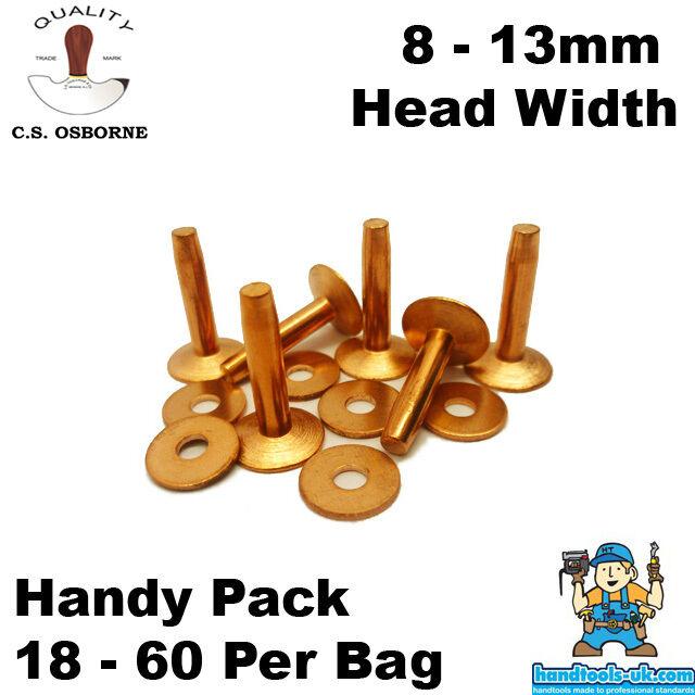 CS Osborne Solid Copper Rivets 8 - 13mm Head (Handy Pack)