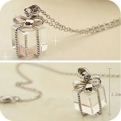 Transparent Gift Box Bow Packs Long Chain Necklace Sweater Pendant Jewelry Gift