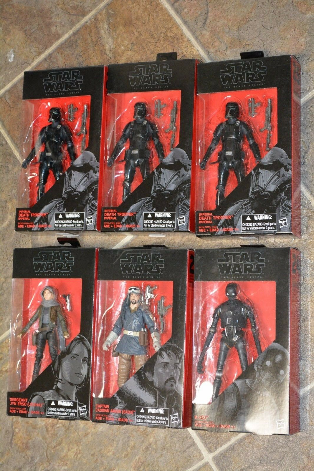 Star Wars red ONE The Black Series 6 Figure LOT Jyn CASSIAN K-250 + 3 Troopers