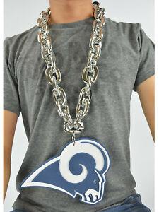 New-NFL-Los-Angeles-Rams-SILVER-Color-Fan-Chain-Necklace-Foam-Magnet-2-in-1