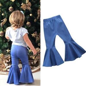 Toddler Little Kid Girls Denim Flares Bell Bottom Tassel Flared Pants Leggings Long Trousers Jeans