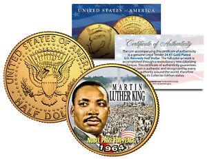 MARTIN-LUTHER-KING-JR-24K-Gold-Plated-JFK-Half-Dollar-US-Coin-NOBEL-PEACE-PRIZE
