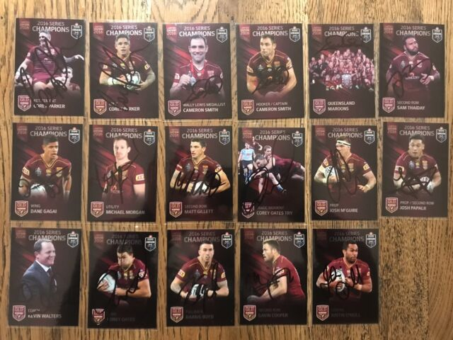 Nrl 2016 Limited Edition Qld State Of Origin Signed Cards
