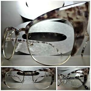 690a29d3ce4 CLASSIC VINTAGE RETRO CAT EYE Style Clear Lens EYE GLASSES Gray ...
