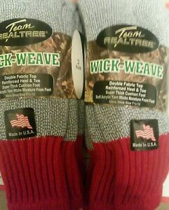 NWT Mens Team REALTREE WICK WEAVE Socks 4 Pairs Size 7.5-12 RED