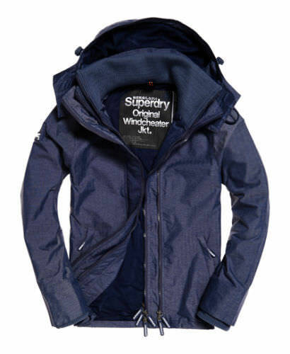 Superdry Mens Windcheater Jacket Coat  Navy Harringbone Windtrekker