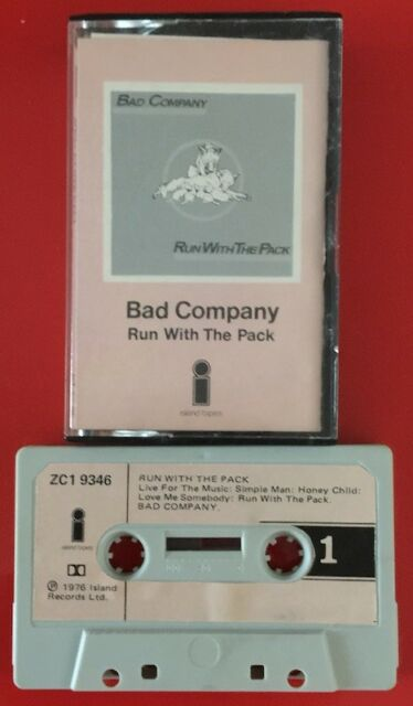 BAD COMPANY RUN WITH THE PACK CASSETTE TAPE PAPER LABELS