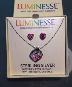 68dffff7850c6 Details about Luminesse Swarovski Elements Sterling Silver Pendant Necklace  Earrings Set 18