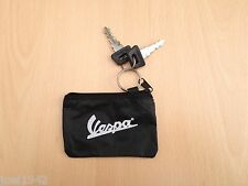 VESPA  KEY POUCH - ZIPPER TYPE - KEY RING. BLACK WITH WHITE VESPA LOGO. NEW