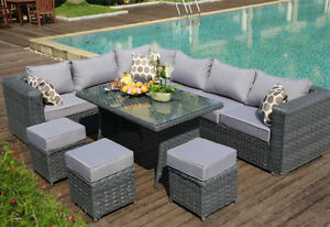 9 Seat 1 Dining Table Rattan Wicker Garden Furniture
