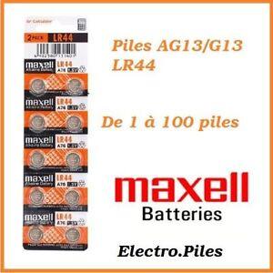 Piles-boutons-alcaline-1-5V-G13-LR44-AG13-de-marque-MAXELL-de-1-a-100-piles