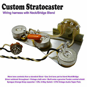 deluxe pre wired stratocaster strat wiring kit with neck bridge strat wiring hss image is loading deluxe pre wired stratocaster strat wiring kit with