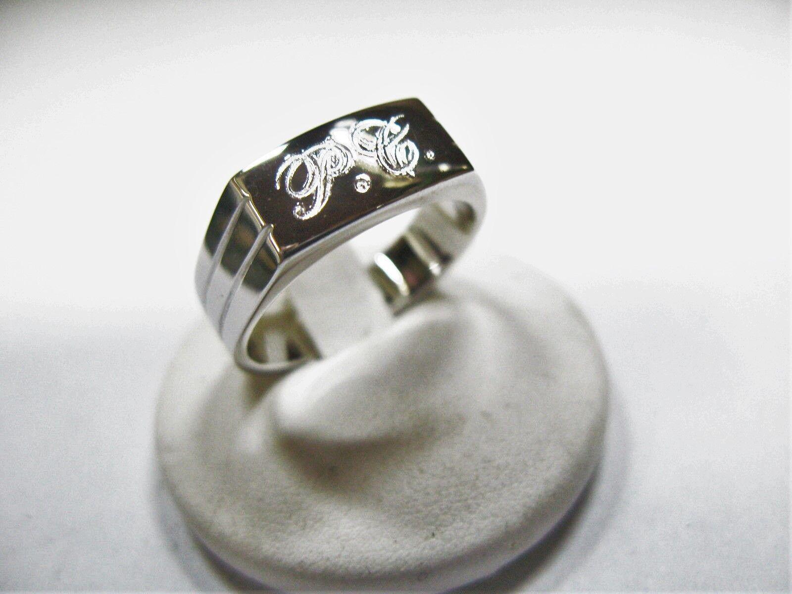 925 men de silver anillo grabado las iniciales incluidas en el precio