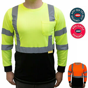 Hi-Vis-Safety-T-Shirt-ANSI-Class-3-Long-Sleeve-Reflective-Tape-with-Black-Front