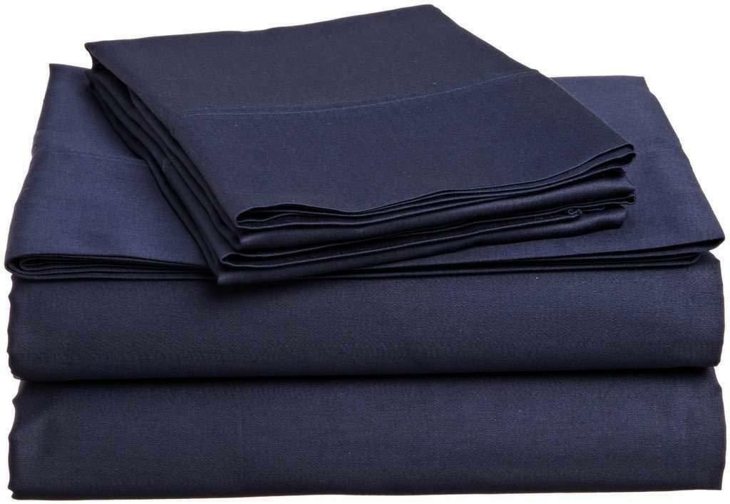 Luxury & Soft Bed Sheet Sets Navy bluee Solid 100% Cotton 1000-TC 15  Drop 4 PC