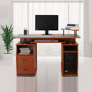 HOMCOM-Computer-Desk-Study-Table-PC-Desktop-w-Printer-Shelf-Home-Office-Walnut