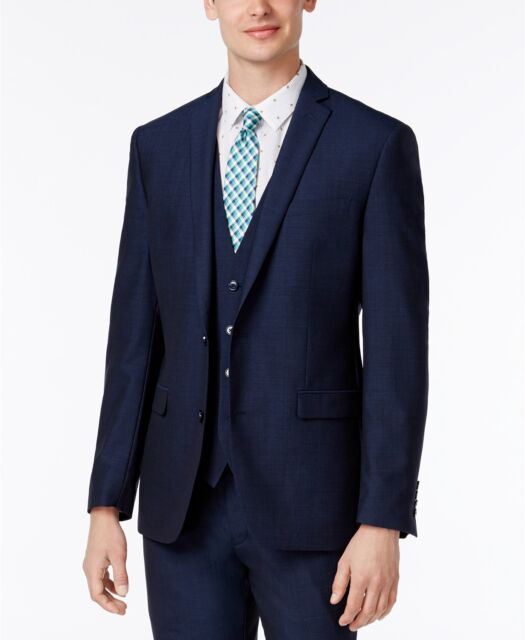 $510 Bar Iii Men Blue Slim Fit 2 Button Suit Coat Wool Solid Jacket Blazer 40 L