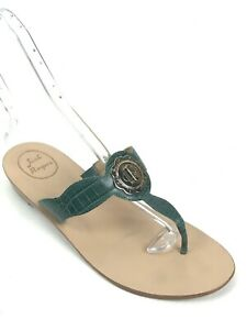 6f0dea7f837f Jack Rogers Women s Size 10 Medium Green Croc Embossed Gold Emblem ...