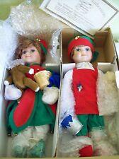 Heritage Collection Christmas Santas Helpers Boy & Girl Elves Porcelain Dolls