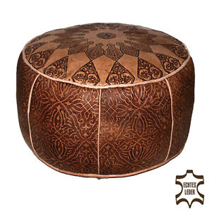 orientalische leder sitzkissen hocker handarbeit bodenkissen pouf konsul d50cm ebay. Black Bedroom Furniture Sets. Home Design Ideas