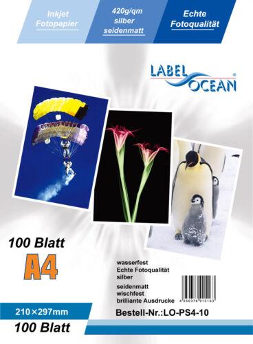 Silber Fotopapier 10 Blatt A4 420g//m² wasserfest von LabelOcean