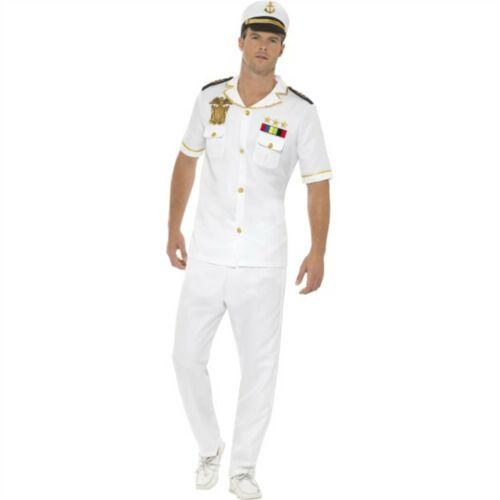 Mens Fancy Dress Navy Adults White Uniform Officer Outfit Captain Costume