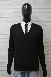 BIKKEMBERGS-Uomo-Taglia-L-Nero-Maglione-Maglia-Felpa-Cardigan-Sweater-Man-Black