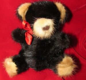 BLACK-MINK-REAL-FUR-SOFT-ARTIST-TEDDY-BEAR-RARE-BEARS-TAG-RED-RIBBON-FUN-GIFT-6-034