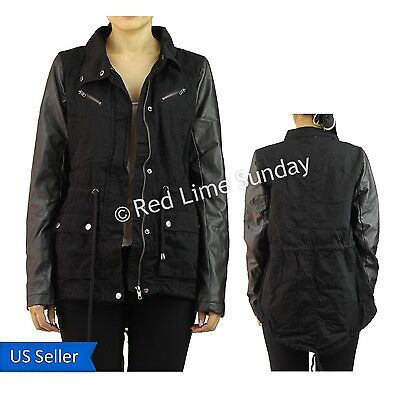New Rocker Black Army Military Jacket Faux Leather Sleeve Coat Rider Zip Button