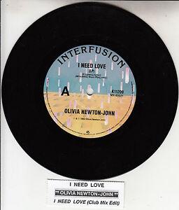 OLIVIA-NEWTON-JOHN-I-Need-Love-7-45-rpm-record-juke-box-title-strip-NEW