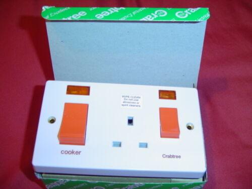 Crabtee cuisinière interrupteur double avec prise 13amp 45amp néons 4521//31