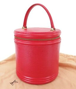2312ef39ec58 Image is loading Authentic-LOUIS-VUITTON-Cannes-Red-Epi-Leather-Vanity-