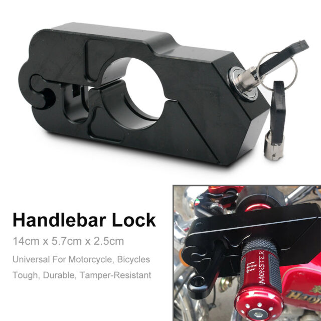 Motorcycle Handlebar Grip Brake Lever Lock Anit Theft Security Caps Lock Black