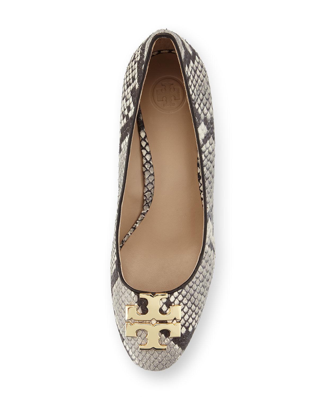 NEW Tory Burch Raleigh Logo Ballet Ballet Ballet Flats Roccia Coconut Gold Snake Shoes 9 72235e