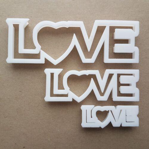 LOVE COEUR TEXTE Valentine Forme Cookie Cutter Pâte Biscuit Pâtisserie Fondant Sharp