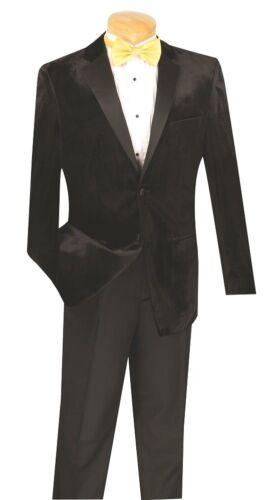 Mens Slim Fit Tuxedo Single Breast 2 Button Formal Prom Wedding Black Velvet TSV