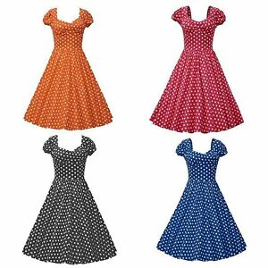 Retro-Party-Polka-Dot-Swing-50-60s-Housewife-Pinup-Vintage-Rockabilly-Lady-Dress