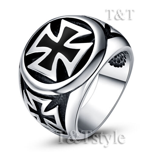 RZ17 High Quality TT 316L Stainless Steel Tri-IRon Cross Ring Size 8-13