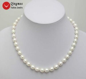 7-8MM-WHITE-Rice-Shape-Natural-FW-PEARL-17-034-Chokers-NECKLACE-for-Women-nec5024